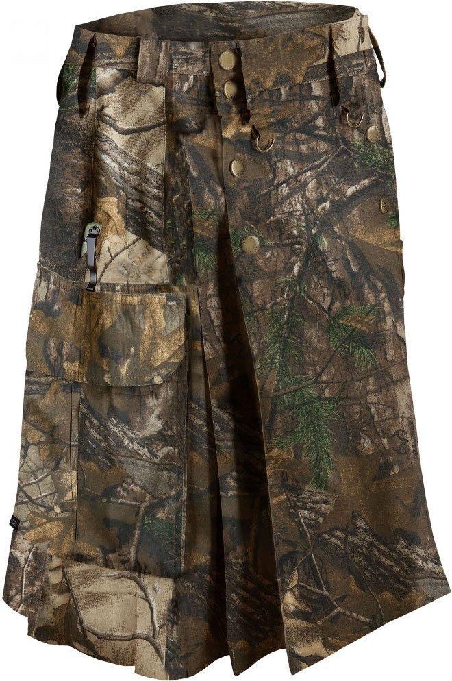 "44"" Taichi Men's TDK Tactical Kilt REAL TREE Camo, OUTDOOR Camping Cotton Utility Kilt"