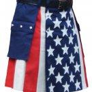 """34"""" Waist American Flag Hybrid Utility Kilt With Cargo Pockets USA Kilt with Custom Stars"""