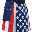 """44"""" Waist American Flag Hybrid Utility Kilt With Cargo Pockets USA Kilt with Custom Stars"""