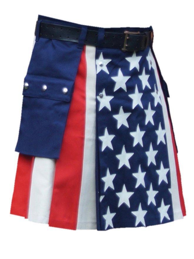 """60"""" Waist American Flag Hybrid Utility Kilt With Cargo Pockets USA Kilt with Custom Stars"""