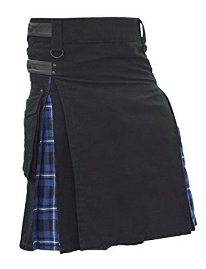 "30"" Waist Modern Black Cotton & Tartan Hybrid Kilt, Black & Blue Hybrid Cotton Utility Kilt"