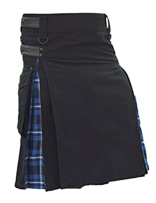 "54"" Waist Modern Black Cotton & Tartan Hybrid Kilt, Black & Blue Hybrid Cotton Utility Kilt"