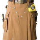 60 Size Brown Utility Tactical Kilt, Men's Big Cargo Pockets Brown Cotton Kilt, Working Men Kilt