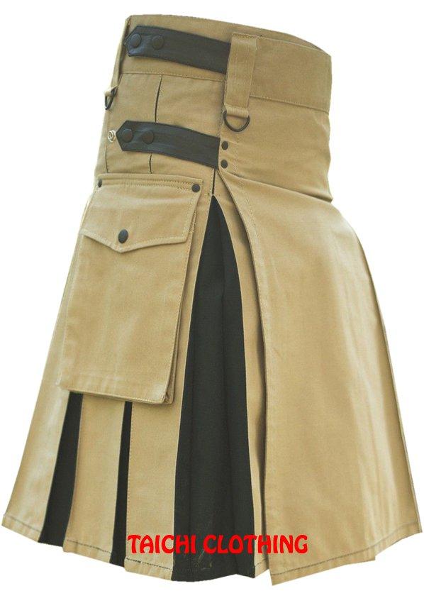 "Men's 52"" Size Brown & Black Cotton Leather Straps Hybrid Kilt, Brown Leather Straps Utility Kilt"