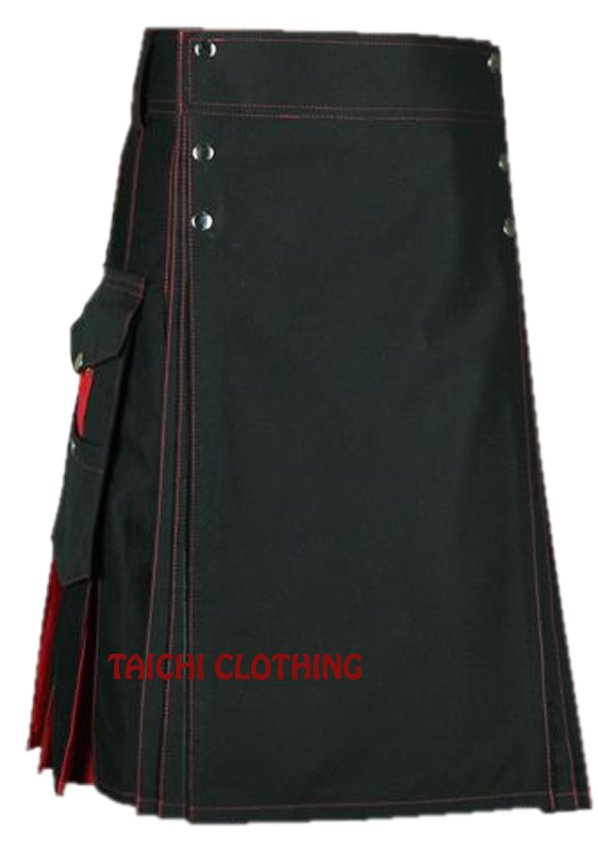 "30"" Premium Quality Black & Red Cotton Hybrid Kilt, Scottish Highlander Black Cotton Utility Kilt"