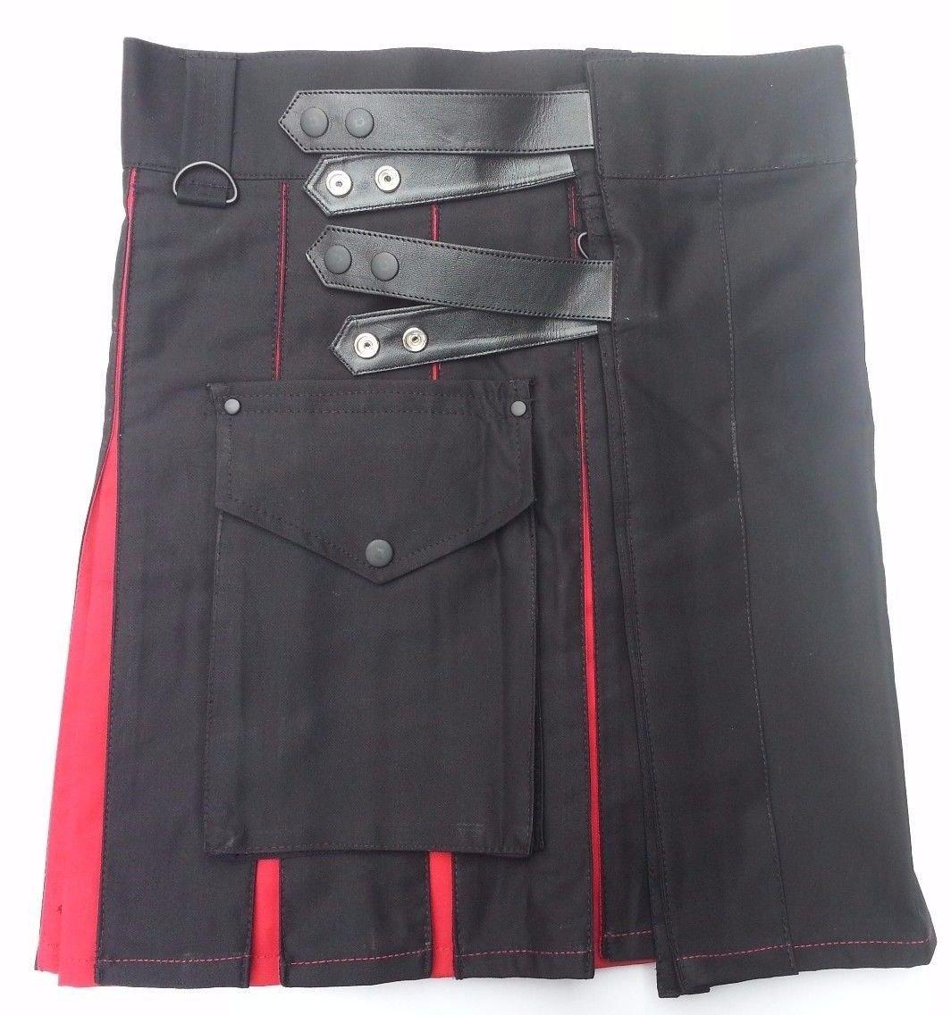 34 Waist TDK Black & Red Cotton Hybrid Kilt, Leather Straps Tactical Duty Kilt Black/Red Cotton