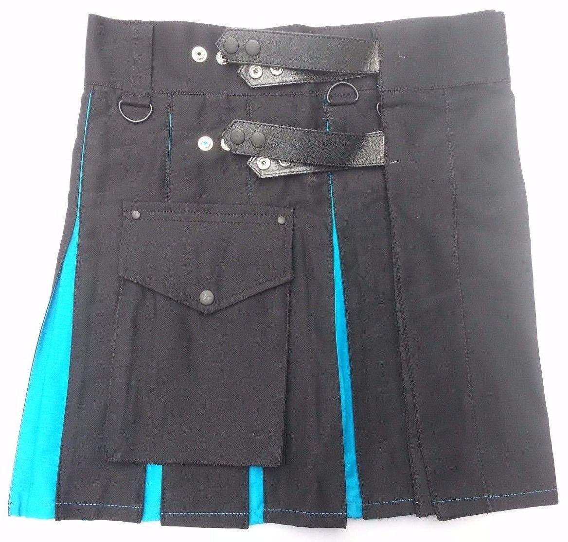"""34"""" Ladies TDK Black & Blue Cotton Hybrid Kilt, Leather Straps Tactical Duty Kilt Black/Blue Cotton"""