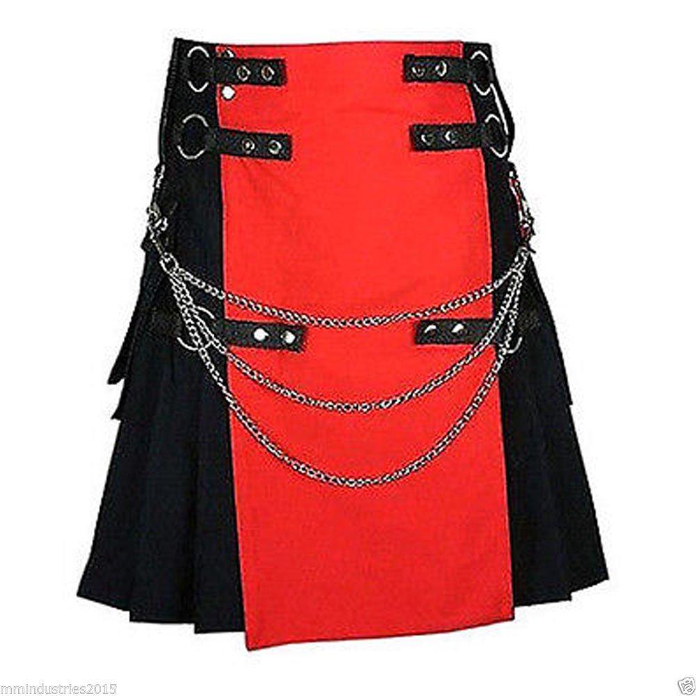 50 Waist Size Black & Red Hybrid Cotton Kilt with Cargo Pockets Chrome Chains Utility Kilt