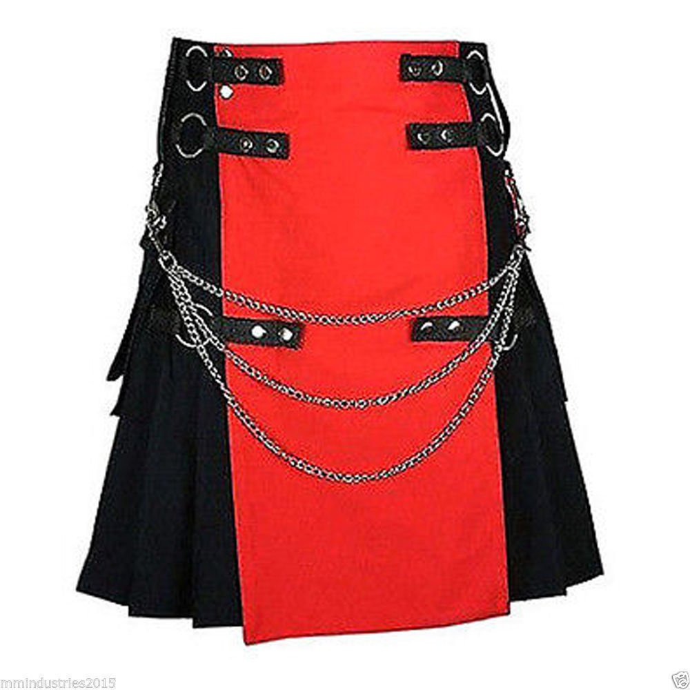 56 Waist Size Black & Red Hybrid Cotton Kilt with Cargo Pockets Chrome Chains Utility Kilt