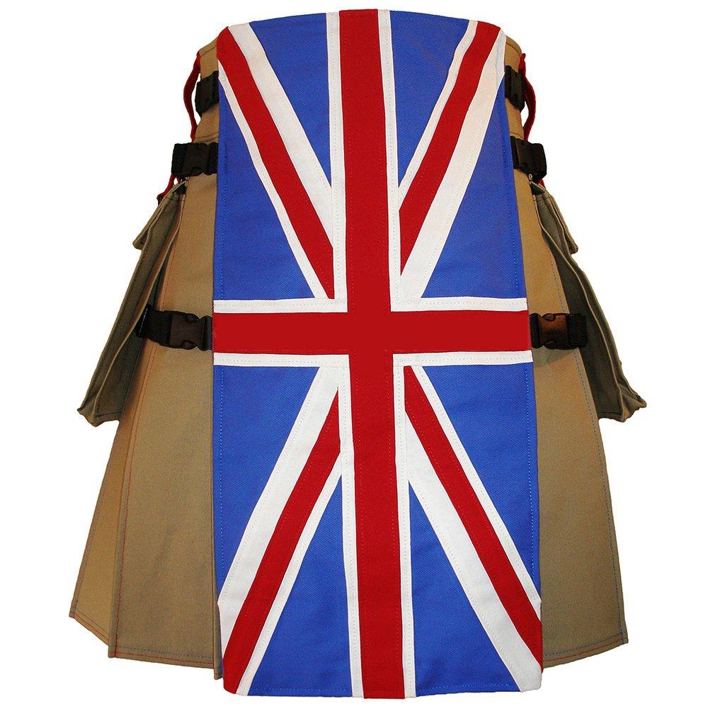 36 Size United Kingdom Flag Hybrid Utility Kilt With Cargo Pockets UK Flag Kilt with Custom Stars