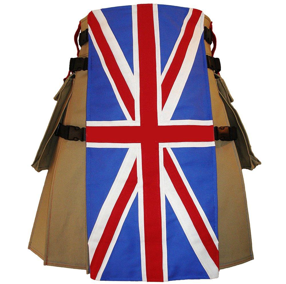 56 Size United Kingdom Flag Hybrid Utility Kilt With Cargo Pockets UK Flag Kilt with Custom Stars