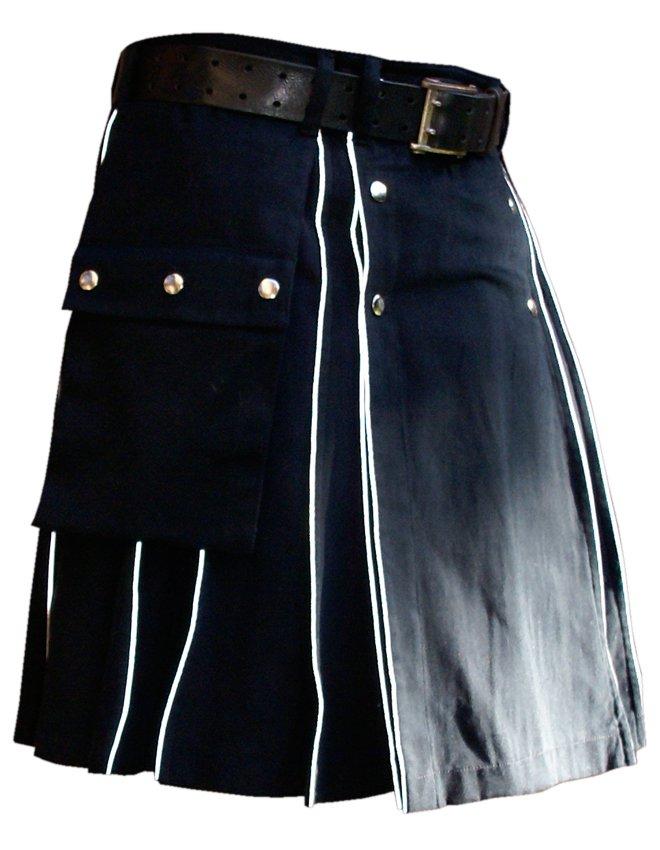 Blue Cotton Modern Pockets Utility Kilt, Men's Handmade 36 Size Highlander white Piping kilt