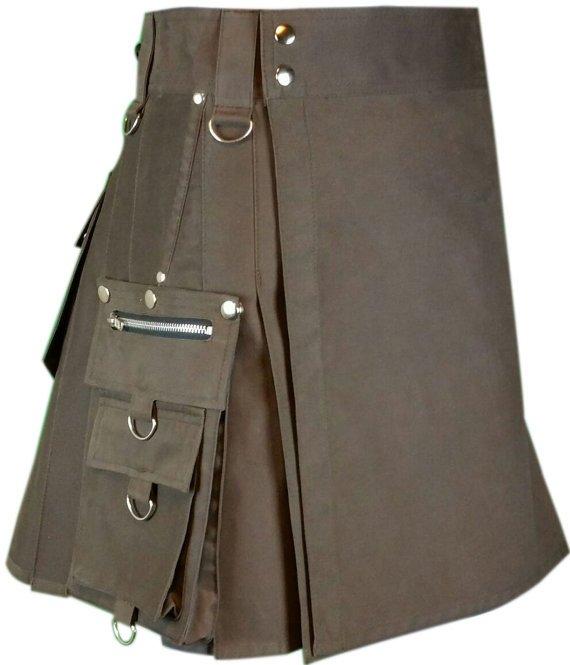 44 Waist Men's Scottish Custom made Brown Gothic kilt, Deluxe Utility Cotton Fabric Kilt