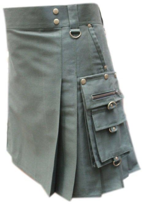 "38""  Men's Handmade Scottish Olive Green Gothic kilt, Deluxe Gothic Style Utility Cotton Fabric Kilt"
