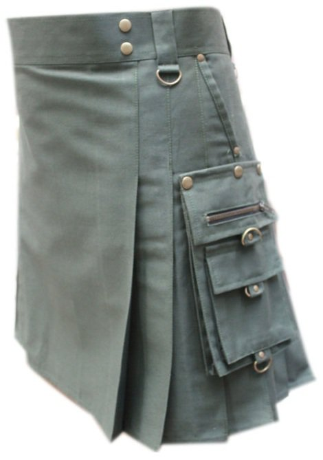 "44""  Men's Handmade Scottish Olive Green Gothic kilt, Deluxe Gothic Style Utility Cotton Fabric Kilt"