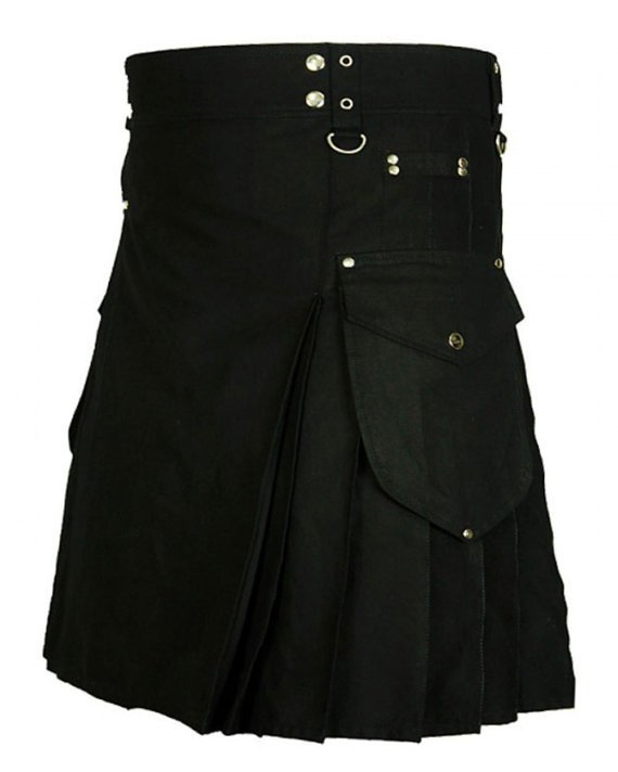 Scottish Imperial Honor Black Utility Kilt, Highlander Deluxe Quality Handmade Black Cotton Kilt