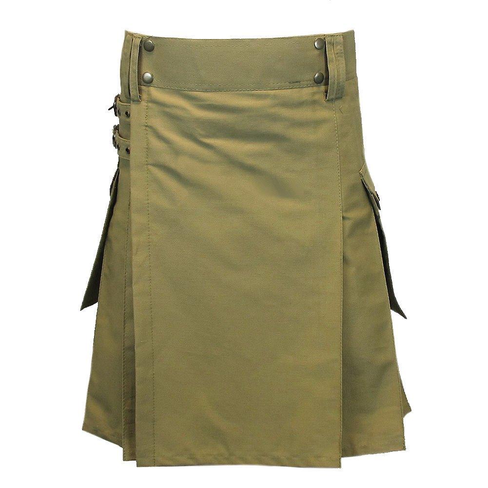 """54 Size TAICHI Khaki Heavy Cotton Utility/Wilderness Kilt For The Active Man 30""""-60"""""""