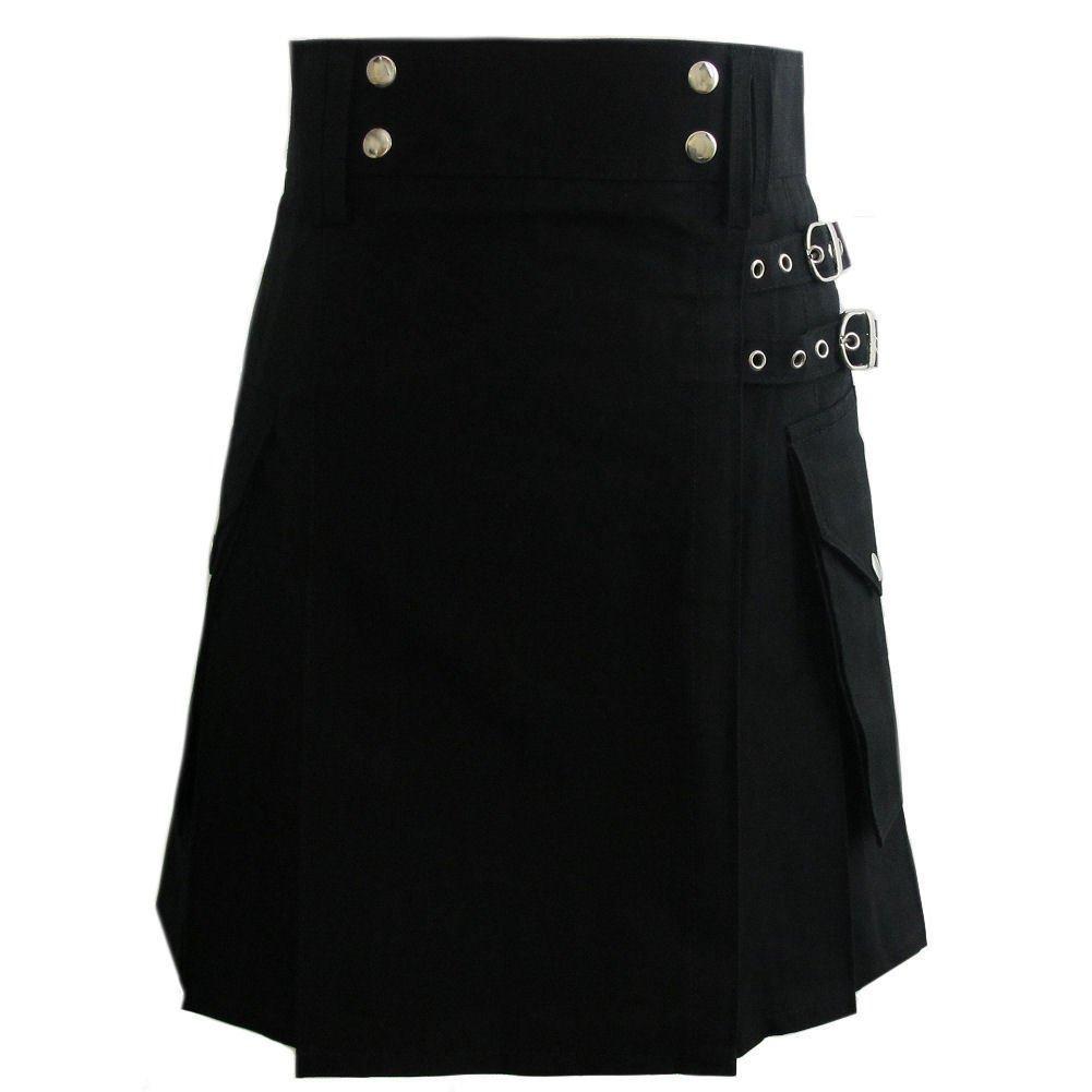 "32"" Stylish TAICHI Black Cotton Utility Kilt, Black Handmade Cotton Deluxe kilt For Active Men"