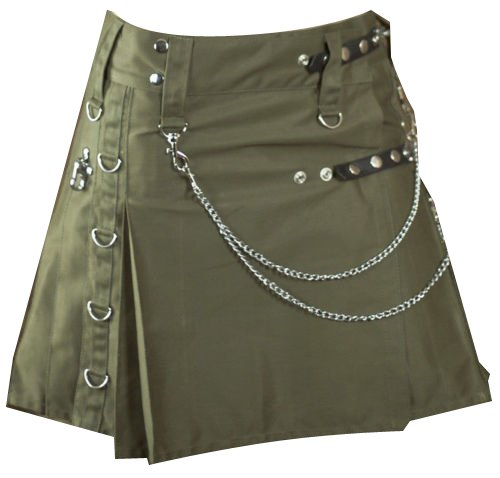 32 Waist Modern Ladies Olive Green Drilled Cotton Fashion Utility Designer Pocket Kilts
