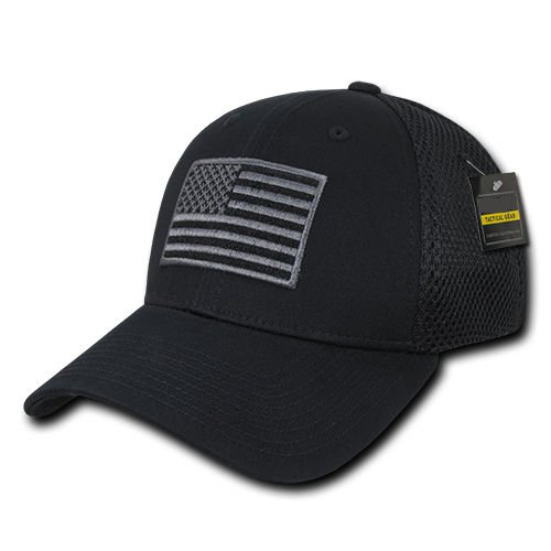 Black US American Flag Tactical Operator Mesh Flex Baseball Fit Hat Cap