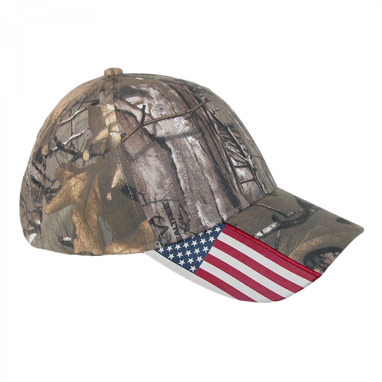 Real Tree Camo USA American Flag Caps United States America Army Polo Baseball Hat Cap