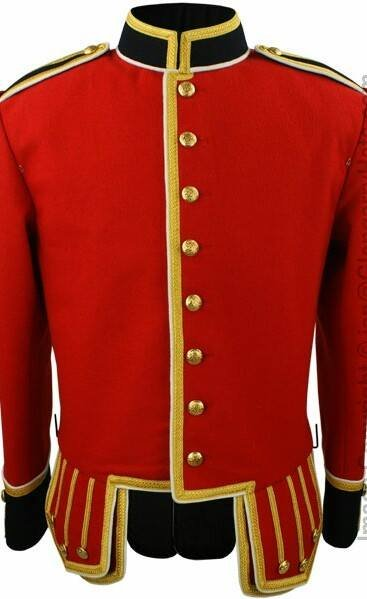 Military Piper Drummer Band Scottish Doublet Jacket Red & Golden