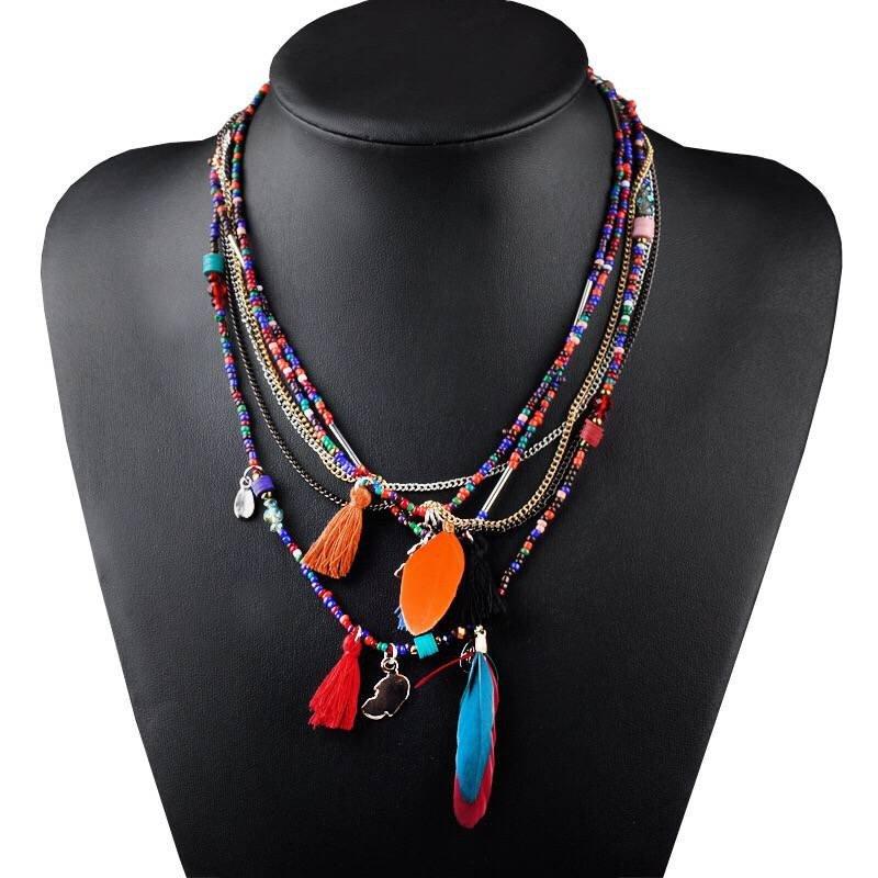 European and American fashion folk style Handmade Beaded Choker Necklace Bohemia feather