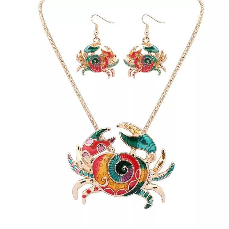 Fashion necklace set oil crab Pearl Necklace Earrings Set, two piece set