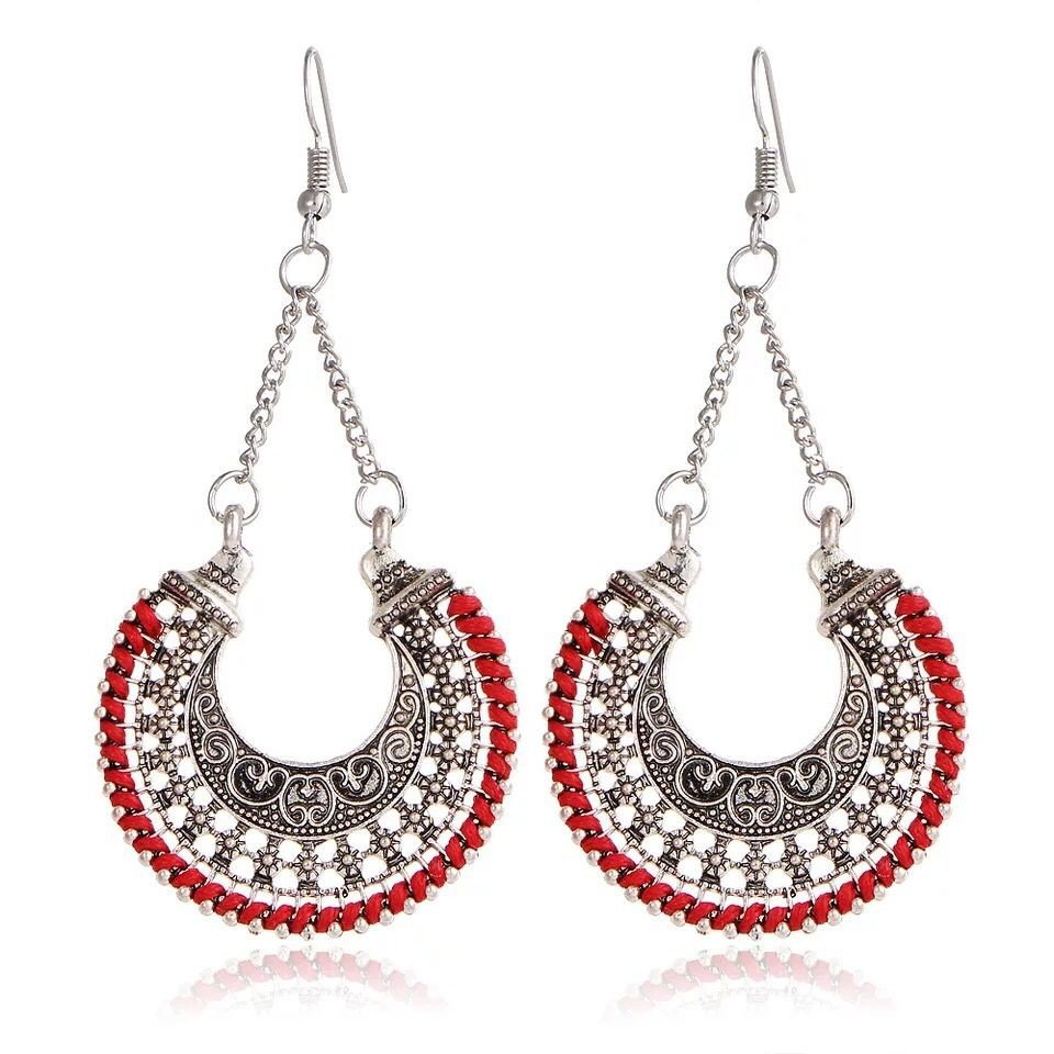 Vintage Silver folk style earrings U Shaped Earrings Ear jewelry carved flowers exaggerated earrings