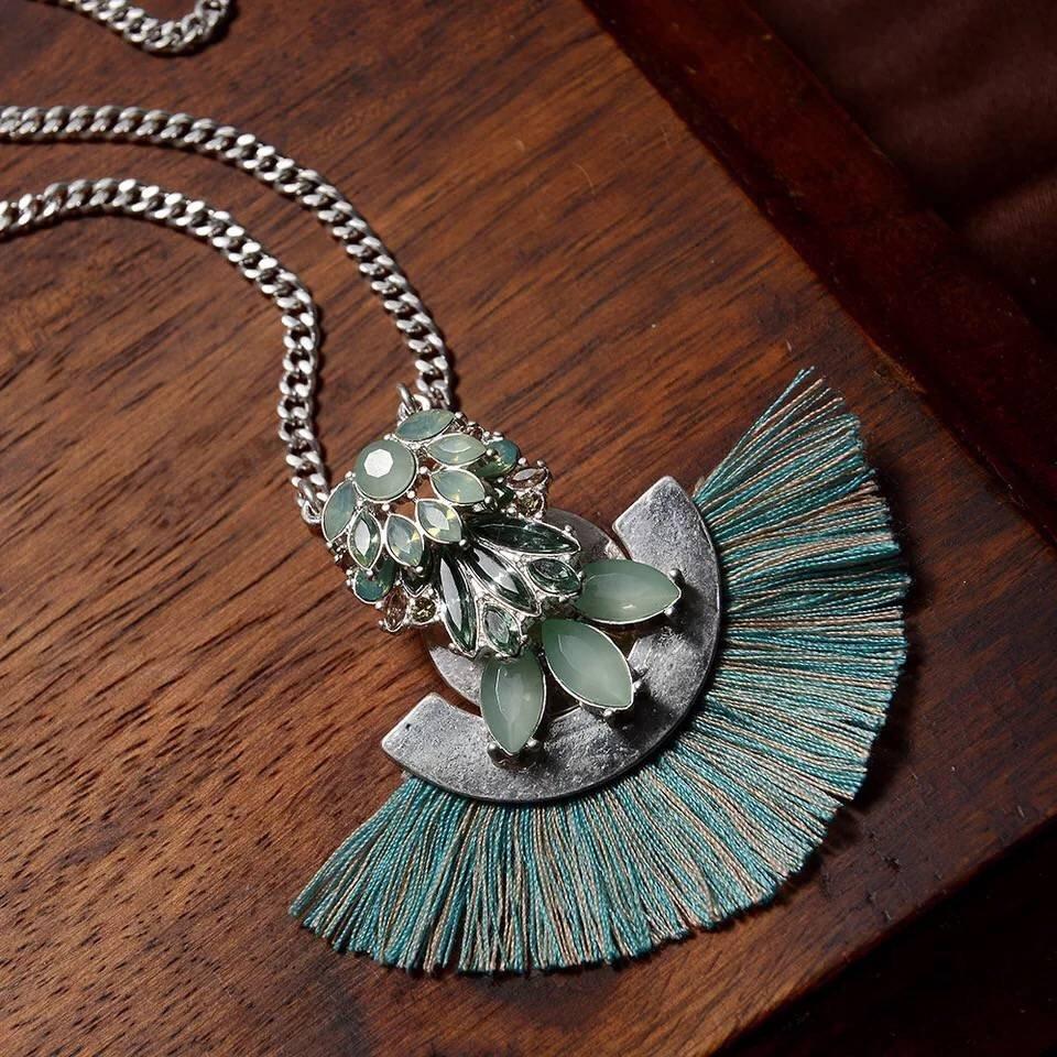 Vintage Retro fan handmade jewelry zinc alloy long sweater chain