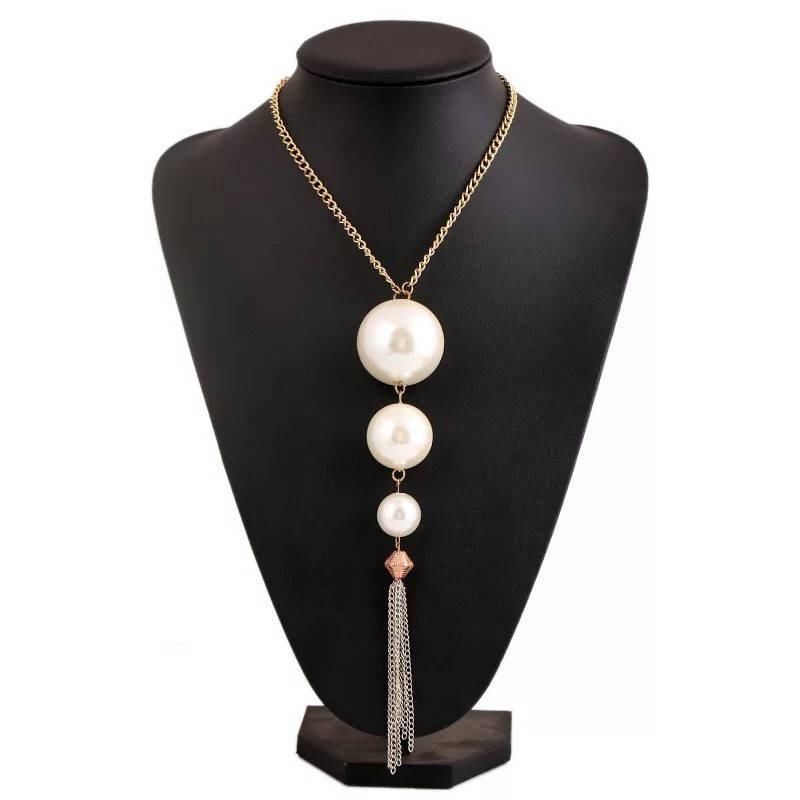 Simple fashion large pearl pendant necklace pendant chain long sweater dress accessories