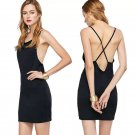 2017 summer new fashion sexy back cross sling slim dress female