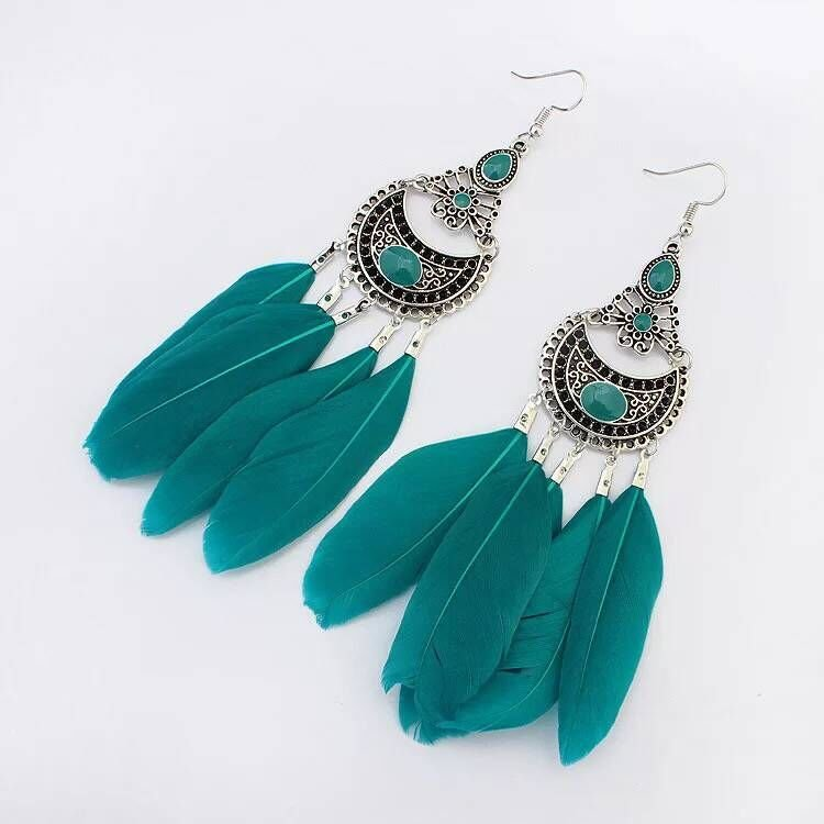 Europe and the United States fashion retro wind feather Tassel Earrings