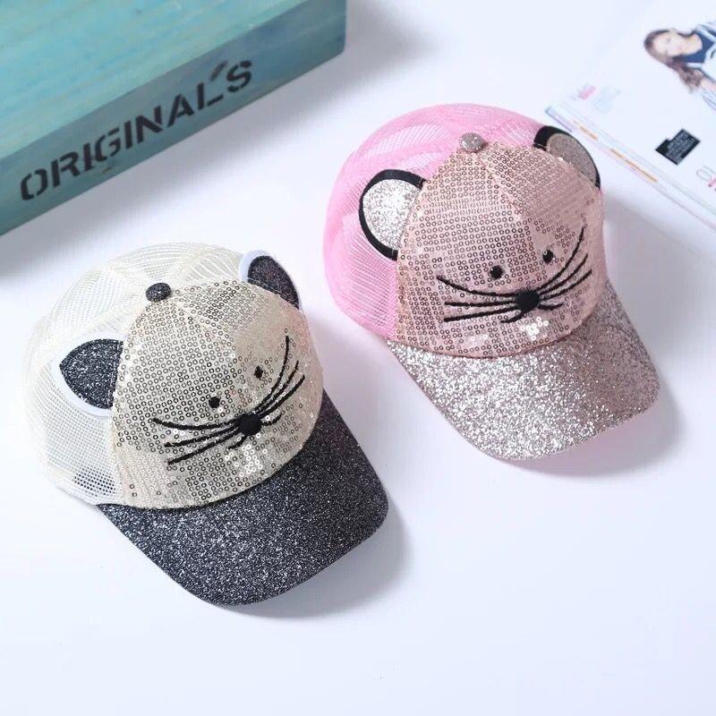 Cat ear, children net cap, summer boys and girls, sun visor, baseball cap, new Sequin cap