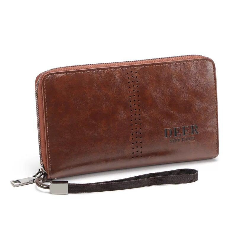 Men's hand bag purse male long oil wax large capacity LEATHER WALLET business man bag
