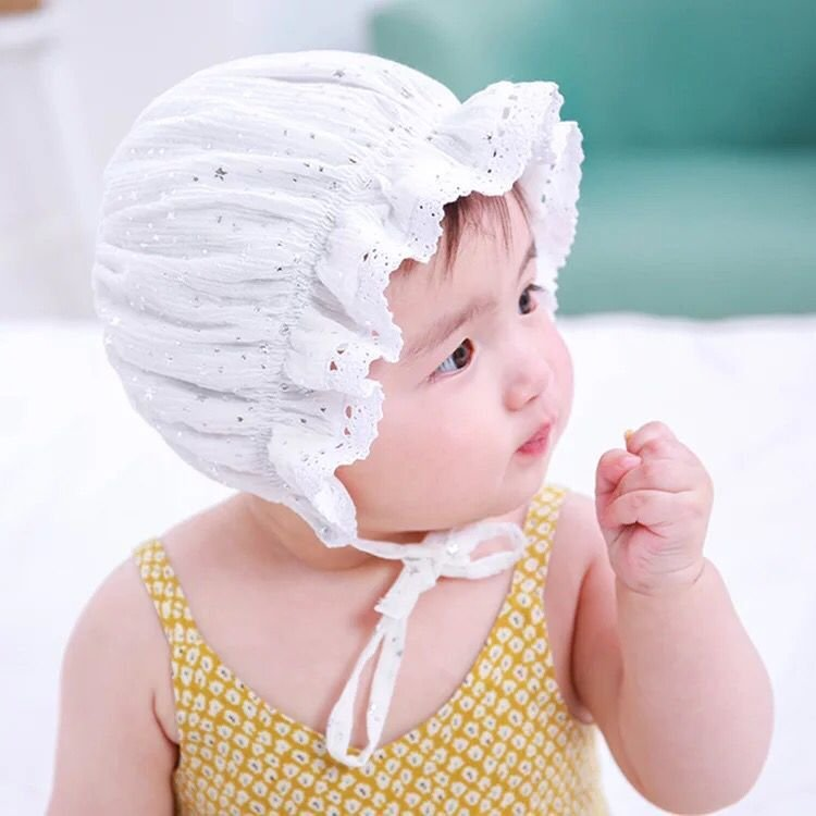Baby Hats, star prints, children's Lace Princess hats, baby summer lace, court hats