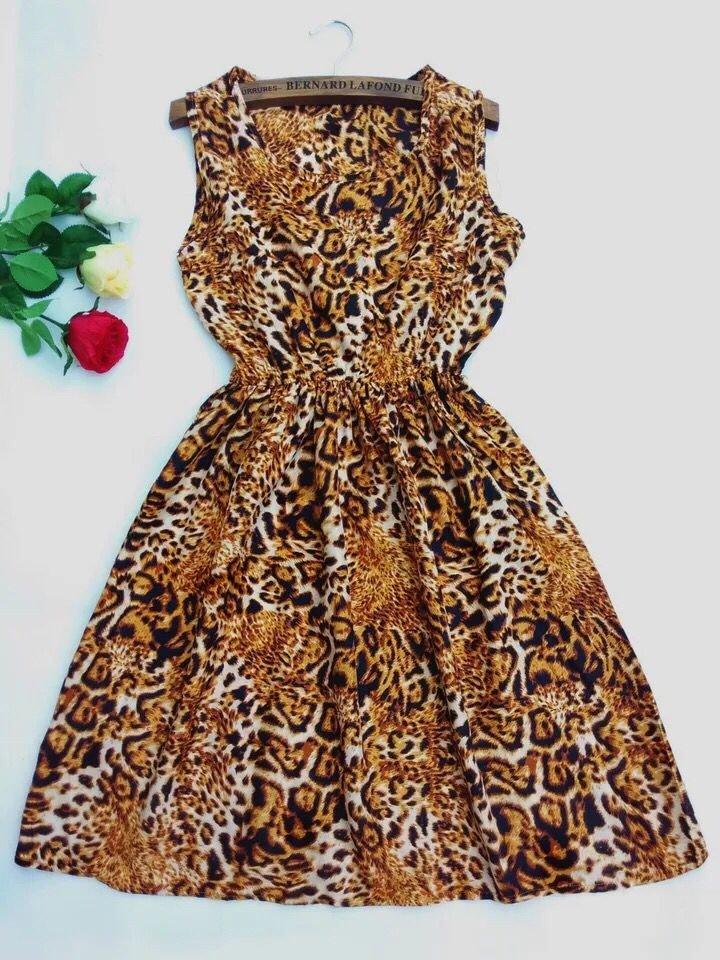 Round neck sleeveless skirt, waist A, Leopard Dress