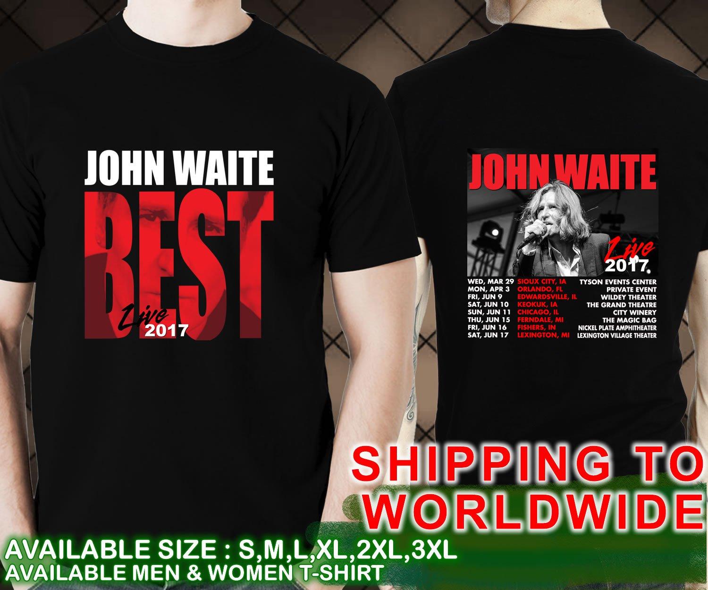 John Waite Tour Dates 2017 Size 2XL Unisex Black T Shirt