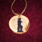 Coal Miner Rustic Wood Ornament OOAK (EC00)