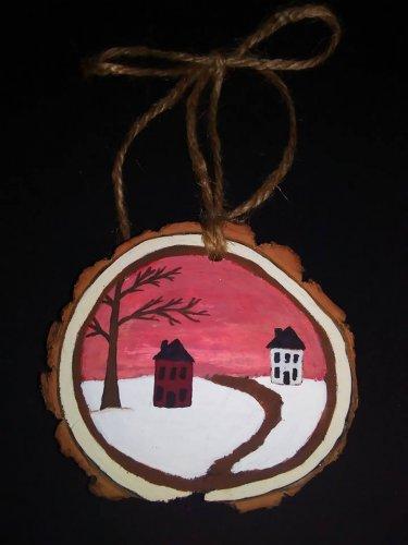Primitive Rustic Wood Ornament OOAK (EC006)