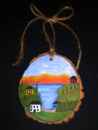 Primitive Rustic Wood Ornament OOAK (EC005)