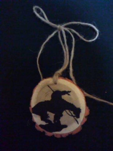 """End of the Trail"" Indian Rustic Wood Ornament OOAK (EC00)"