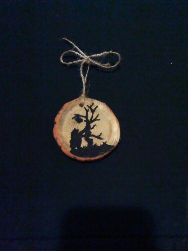 Bear Rustic Wood Ornament OOAK (EC00)