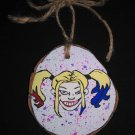 Harley Quinn Wood Ornament OOAK (EC00)