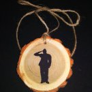 Saluting Soldier Rustic Wood Ornament OOAK (EC00)