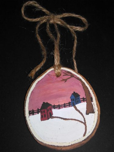Primitive Rustic Wood Ornament OOAK (EC008)