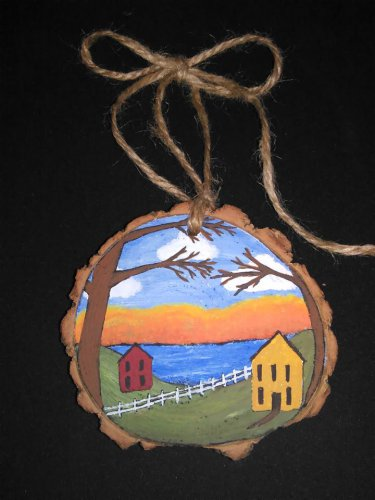 Primitive Rustic Wood Ornament OOAK (EC007)