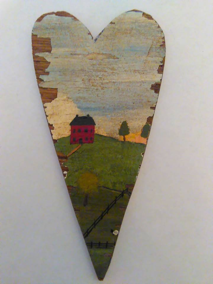 Primitive Rustic Wood Heart Cutout Painting OOAK (EC003) FREE SHIPPING