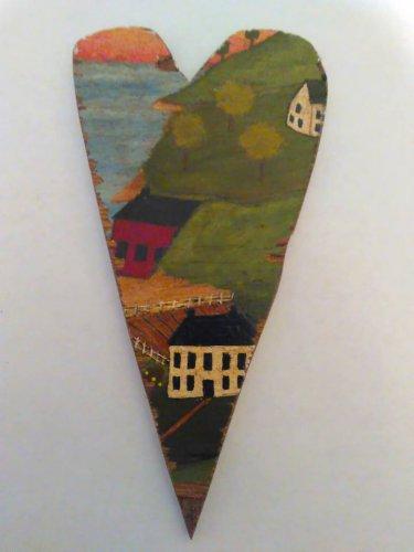 Primitive Rustic Wood Heart Cutout Painting OOAK (EC005)