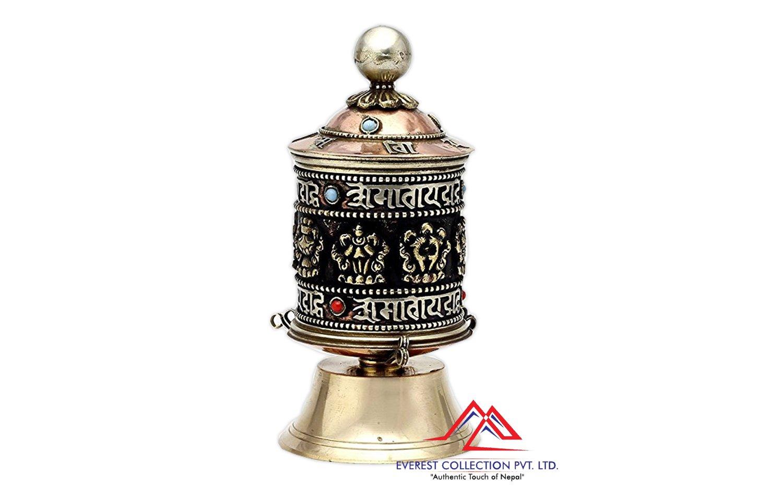Table Top Copper Brass Tibetan Buddhist 8 Lucky Symbols Prayer Wheel,Dharma wheel